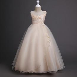 Vestido de fiesta de las muchachas para adolescentes Vestido de las muchachas 2018 Vestido de novia sin mangas de los niños blancos con lazo desde fabricantes