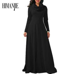 Wholesale Xl Muslim Woman Clothes - Women Sexy Cotton Scarf women dress clothing robe Long Model Dress Black Muslim size M-2XL
