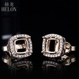 pendientes semi montajes Rebajas HELON 5mm-6.75mm Cushion Cut Earring Semi Mount en Sólido 14K Oro Amarillo Con Diamante Halo Stud Earring Para Mujeres Joyería Fina