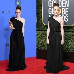 Wholesale golden globe white dress - 2018 Mrs. Maisel 75th Golden Globe Awards Red Carpet Celebrity Evening Dresses A Line Black One Shoulder Party Prom Gowns