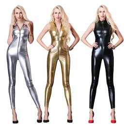 women sexy faux leather latex catsuit Coupons - New Sexy Sleeveless Long Catsuit Latex bodysuit Overalls Female Faux Leather Zipper To Crotch Women Vinyl Jumpsuit