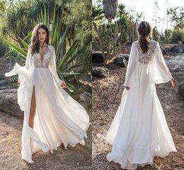 Wholesale Gold Lanterns Wedding - Asaf Dadush 2018 Wedding Dresses With Long Lantern Sleeve Modest Lace Chiffon Sexy Split Flowy Beach Boho Country Garden Bridal Dress