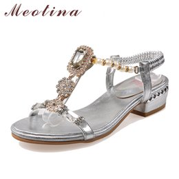 Wholesale embossed wedding - Meotina Shoes Women Sandals Rhinestone Sandals Luxury Shoes 2017 Beading Summer Chunky Low Heels Gold Wedding