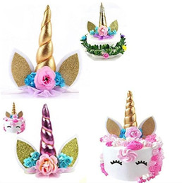 Wholesale decoration shower - Unicorn Horns Cake Topper for Kids Cake Birthday Baby Shower Unicorn Party Wedding Decoration Rainbow Unicorn Cake Toppers KKA4502
