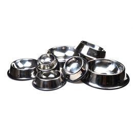 Wholesale Bowl Cup Set - Hot Economic Utility Stainless Steel Set Bowl Dog Cat Bowl Skid Resistance Single Round Arch Environmental Plastic