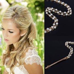 Tocado de cadena de perlas online-Las señoras de la cabeza de perlas de la joyería de la cadena de la venda del pelo de la venda Causual mujeres hechos a mano Headwear clip de pelo accesorios envío gratis