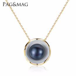 Monili di fascino bianco / nero della collana di fascino di colore dell'oro 18K di PAG MAG, gioielli della perla delle perle, pendente della collana delle perle, 925 gioielli dell'argento sterlina da disegni bianchi della collana della perla bianca fornitori
