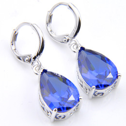 Wholesale blue topaz drop earrings - 10Prs Luckyshine Fashion Shine Water Drop Fire Blue Topaz Cubic Zirconia Gemstone Silver Dangle Earrings for Holiday Wedding Party