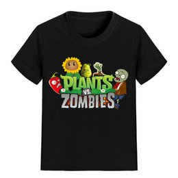 Wholesale pink zombie - NEW ARRIVAL Children Cartoon T Shirt Plants vs Zombies Sunflower Pepper Printed Boy Kid Clothes Short Sleeve Girl Tee Shirt Kid Summer