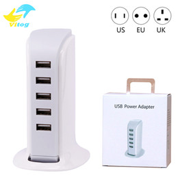 Wholesale Intelligent Travel - 20W 5 USB Portable Charger For US EU UK Plug Multi Intelligent Charging Socket Travel Charger for Mobile Phone Pad Computer Standard USB Cha