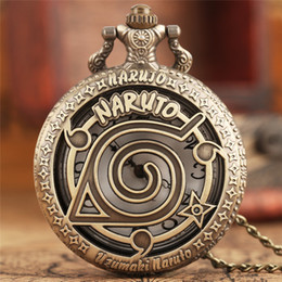 famous figures Coupons - Famous Anime Naruto Pocket Watch Vintage Leaf Figure Pendant NARUTO Fans Cosplay Collectibles Toys Gift for Boys Girls Kids 2017