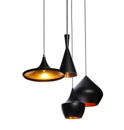 Nueva llegada luz interior Tom Dixon diseño de cobre sombra lámpara pendiente E27 bombillas Beat Light lámpara de techo negro / blanco decoración del hogar desde fabricantes