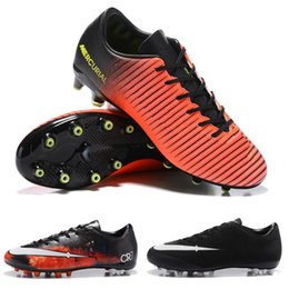 Wholesale Victory Boots - New 2018 Boots CR7 Mercurial Victory V AG men High quality Shoes Blue Black Size 39-45 Cheap Sale