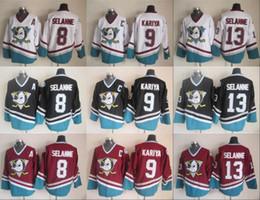 Anaheim Ducks # 8 Teemu Selanne 9 Paul Kariya 13 Teemu Selanne Branco Roxo Preto Vermelho CCM Hockey Jersey 100% Costurado de Fornecedores de nhl hóquei vancouver jersey