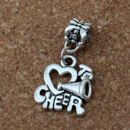 Wholesale Heart Cheer - MIC .100pcs lot 16x 30mm Antiqued Silver Alloy Cheerleader Heart I Love to Cheer Charm Big Hole Bead Fit Charm Bracelet Jewelry A-166a