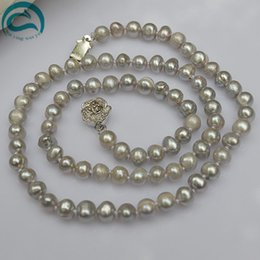 flowers jewellery 2018 - Unique Pearls jewellery Store AA 6-7mm Gray Color Genuine Freshwater Pearl Necklace Silver Flower Clasp 45cm Woman Jewelry