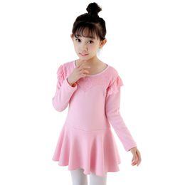 Wholesale Long Ballet Dresses - Ballet Dance Girl Dress Cotton Long Sleeve Kid Dance Clothing Kids Ballet Coustumes for Girls Dance Leotard Girl Dancewear UD0111