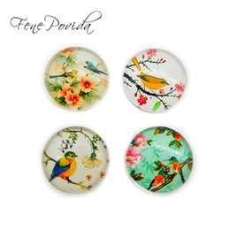 Wholesale Black Glass Paint - 1pcs 25mm Traditional Chinese Painting Fridge Magnet Creative Artistic Bird Crystal Glass Magnetic Sticker Home Decoration D096