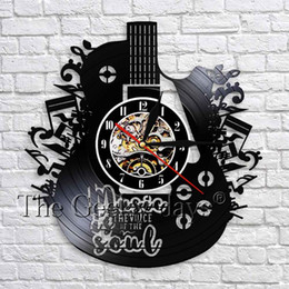 guitar recording Promo Codes - 1Piece Music Is Soul Vinyl Record Wall Clock Guitar Art Decorative Clock 3D Wall Watches Musical Instrument Decor For Room