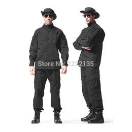 Trajes de combate negro online-Uniforme de combate de camuflaje táctico del ejército de los EE. UU. Camo BDU Ropa de hombre Conjunto de trajes de caza al aire libre NEGRO S-XXXL