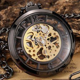 старинные большие часы Скидка Винтаж Прозрачные механические карманные часы Мужские Рука Ветер Скелет Гладкая Поверхность Фоб Часы Подвеска с Большой Арабской Цифровой Подарок