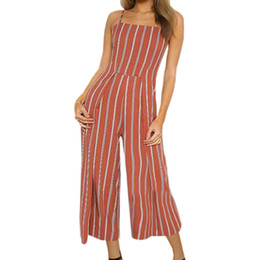 9f09b5c305b Femme Summer Backless Striped Jumpsuit Women Spaghetti Strap Overall Wide  Leg Pants Girl Kawaii Bow Pocket Holidays Romper GV066