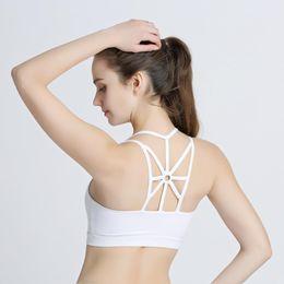lindo peito negro Desconto Backless Sports Bra Top Fitness Bras Women Strappy Brassiere Sport Top Vest Gym Padded Yoga Bras Push Up Running Underwear