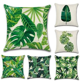 2019 cuscini tropicali Copricuscino per piante tropicali Federa per cuscino Foglia di palma Foglie verdi Cuscino decorativo Federa per cuscino cuscini tropicali economici