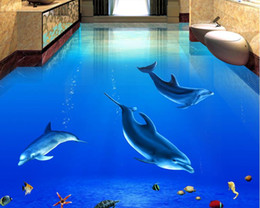 Wholesale Floor Heating - PVC Self-adhesive Floor Beautiful Dolphin Underwater World 3D three-dimensional bathroom floor tile floor painting