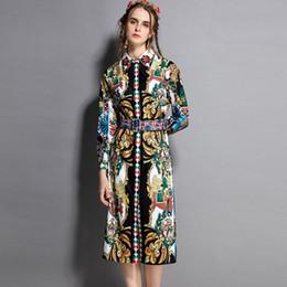 cinturones midi Rebajas Los Rhinestones de las nuevas mujeres de la llegada rechazan las mangas cortas impresas del diseñador de moda Vestidos ocasionales de la pista con la correa