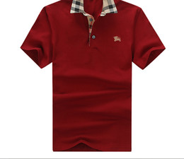 Wholesale men tshirt collar short sleeve - Fashion Luxury shirts Tag Embroidery Men T-shirt Designer Summer Plaid Collar Tshirt Polo Suit Shirts Poloshirts Men's Clothing