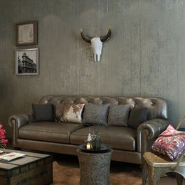 Wholesale Silver Wallpaper For Living Room - Retro Plain Solid Color Wall Paper Rolls Silver Gray Wallpapers For Living Room Bedroom Restaurant Non-woven Striped Wallpaper