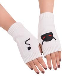Guantes bordados online-Muchacha de las mujeres bordada diablo cola de lana de punto cálidos guantes sin dedos suaves cálidos mitones Invierno Mujer