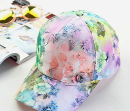 модные колготки корея Скидка 2016 Summer Women's Fashion Casual Sunscreen Breathable Flower Print Lace Baseball Cap Korea Hat