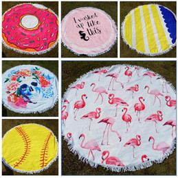 Wholesale Tablecloths Tassels - Flamingo Beach Towel Baseball Softball Tapestry Round Tablecloth with Tassel Beach Serviette Covers Beach Shawl Wrap Yoga Mat 38 Styles
