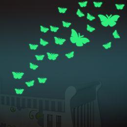 Mariposa abs online-11 unids / lote Encantador cambio de color creativo ABS mariposa LED luces de la noche lámpara hermosa decoración del hogar pegatinas de pared Nightlights