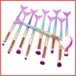 Free Shipping by ePacket 10 PCS Mermaid Makeup Brushes Set Foundation Blending Powder Eyeshadow Contour Concealer Blush Cosmetic Makeup Tool