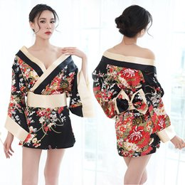 7cb68e05c7 Women Japanese Kimono Sakura Floral Kimono Robe Sexy Nightgown Sleepwear  Yukata Elegant Casual Spa Robes Japan Sexy Costumes