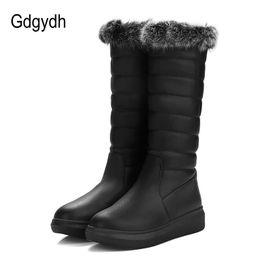 botas blancas de invierno para la piel de las mujeres Rebajas Gdgydh Real Fur Botas de nieve mujeres planas con zapatos de mujer cálida para el invierno felpa interior negro blanco costura de buena calidad más tamaño