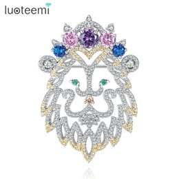 Wholesale Cubic Stone Jewellery - LUOTEEMI Spring New White Gold Color Vivid Lion Pattern Brooch with Multi-color CZ Stone For Women Girl Animal Brooch Pins Jewellery