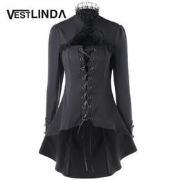 Длинное черное пальто готическое онлайн-Wholesale-VESTLINDA Lace Trim Lace Up Dip Hem Trench Coat Fall 2017 Fashion Womens Tops Gothic High Collar Long Black Outerwear Femme