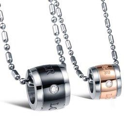 Wholesale Necklace Rose Gold Couple - New jewelry wholesale jewelry eternal love couple titanium necklace black rose gold width circle pendant necklace