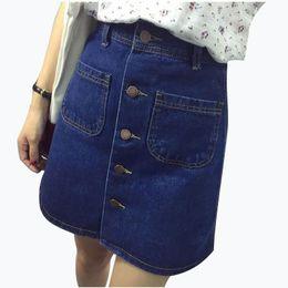 Wholesale women mini jeans skirt - 2018 New Fashion A-Line Korean Mini Jeans Skirt Thin Single Breast Button Slim Waist Denim Skirts Summer Cheap Sexy Skirt Women