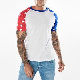 Wholesale mens flag t shirt - Summer New Star Print Mens T-shirt Flag Printed Patchwork Casual Crew Neck Short Sleeve T-shirt