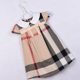 Famous Brand Plaid Kids Clothing Cap Sleeves Summer Baby Girl Clothes A-line Vestidos de niña Princesa Dress Vestidos desde fabricantes