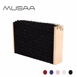 Wholesale Zipper Side Bag - MUSAA Fashion Jacquard Evening Clutch Bag Female New Collection Alloy Frame on Both Sides Shiny Jacquard Cloth Zipper Party Bags