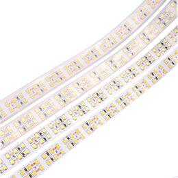 Tiras de silicona online-240LEDs / m SMD2835 LED Strip 12V 5m impermeable IP67 impermeable Flexible LED Light 1200Leds Doble fila LED Strip Tubo de silicona luces
