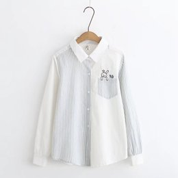 Wholesale Top Mori - mori girl 2018 spring stripes embroidered cute bunny shirt blouse female top 31143