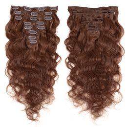 extensions multi-couleurs Promotion Clip droit dans les extensions de cheveux 8 pcs / set vague de corps Vendeurs de cheveux humains vierges brésiliens