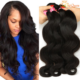 Wholesale Dyeable Malaysian Hair Bundles - 8A Peruvian Body Wave Virgin Hair 4 Bundles Peruvian Brazilian Indian Malaysian Human Hair Weaves Hair Dyeable Natural Color Gaga Queen